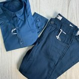 Рубашка и брюки коттоновые бирюзового цвета мальчику подростку р.122-164см