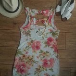 Цветочный принт короткое летнее платье мини сарафан туника new look с вырезом на спине