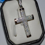 Серебряный крест с золотом и камнями