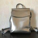 Кожаный рюкзак-сумка трансформер серебро