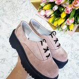 Замшевые туфли броги на толстой подошве Разные цвета