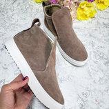 Высокие замшевые слипоны Замшевые демисезонные ботинки