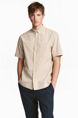 Рубашка до короткого рукава тенниска из смеси льна и хлопка от h&m