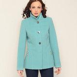 Короткое весеннее кашемировое пальто бирюзовое, горчичное, черное
