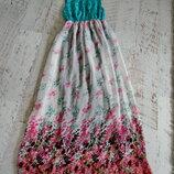 длинное шифоновое платье в пол М
