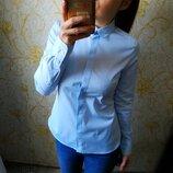 Шикарная однотонная голубая рубашка