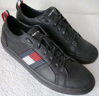 Супер Tommy Hilfiger идеальная реплика кожаные чёрные кеды Туфли мужские