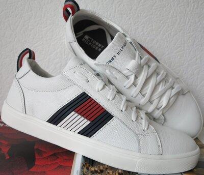 Стиль Tommy Hilfiger кожаные белые кеды Туфли мужские кроссовки