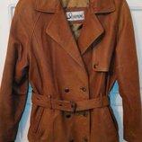Очень качественная кожаная куртка с поясом, коричневая, р. M-L.