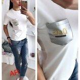 футболка фабричный Китай Люкс качество х/б карман