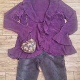 Новая велюровая фиолетовая накидка кардиган с рюшами кофта свитер джемпер s - m