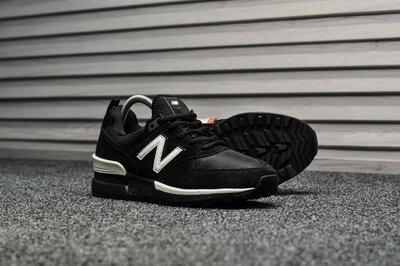 Черные мужские кроссовки New Balance 574 Sport Black White все размеры в наличии