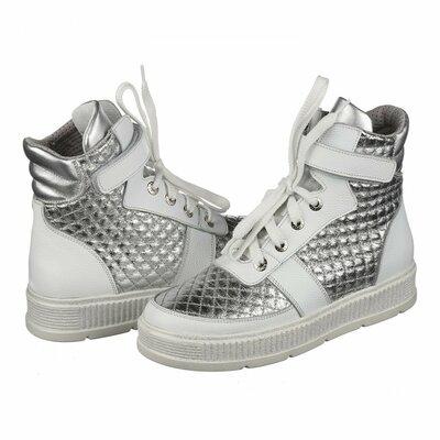 3e7029009 Стильные кожаные высокие белые серебристые спортивные ботинки кеды ...