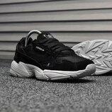 Черные женские кроссовки adidas falcon с белой подошвой все размеры в наличии