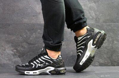 Nike Air Max TN кроссовки мужские демисезонные черные с белым 7279
