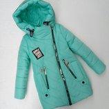 Зимняя куртка для девочки Виктория, бирюза, 128-152 см