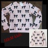 Свитшот H&M, кофта, джемпер, топ с длинными рукавами с рисунком бантики на девочку 134-140см
