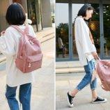 Женский розовый вельветовый рюкзак код 3-395