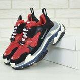 Мужские кроссовки Balenciaga Triple S Red Black многослойная подошва