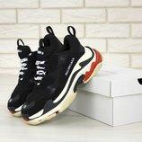 Мужские кроссовки Balenciaga Triple S Black White многослойная подошва