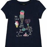 Нарядная футболка Единороги, мороженное, сердечки, на 2-3 года