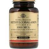 Solgar, Сублингвальный метилкобаламин Витамин В12 , 1000 мкг, 60 капсула
