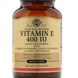 Solgar, Витамин E, 400 IU, 100 мягких желатиновых капсул