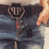 Ремень кожаный в стиле Philipp Plein Филипп Плейн, унисекс