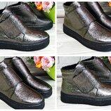 Молодежные ботинки на платформе-слипоны-натуральная кожа,цвет никель платина Выбор цвета,материала