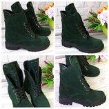 Ботинки на шнурках-Натуральная замша,цвет изумруд зеленый Материал, цвет, сезон на выбор
