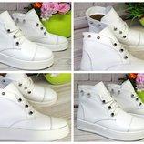 Молодежные ботинки на платформе - натуральная кожа, цвет белый Выбор цвета, материала, сезона