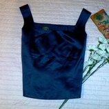 Синяя атласная топ-блуза на широких бретелях бренд laura ashley размер 16