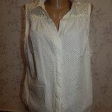 блузка белая батистовая стильная, модная р 16