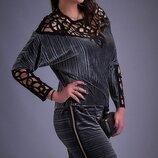 Платье повседневное XL бархат плиссе хаки терракотовый серый