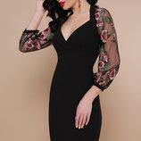 Платье нарядное креп дайвинг сетка черный бордо лиловый бежевый