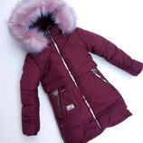 Зимняя куртка для девочки К-2 , марсала, 128-152 см