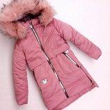 Зимняя куртка для девочки к-2 , розовая, 128-152 см
