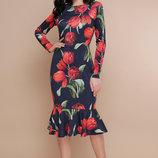Платье Фаина красные тюльпаны.