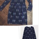 Платье h&m france с длинным рукавом, с карманами, блестящие бантики, на девочку 134-140см