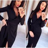 Черное платье-халат Janett Код 413