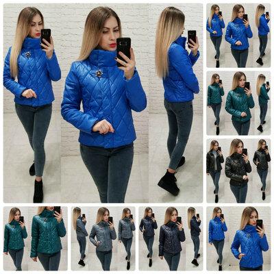 Продано: Женская демисезонная куртка стеганка Lolo ромбы ворот брошь синтепон 42-48р