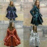 Демисезонное пальто металлик