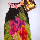 сукня платье туника летняя размер 48 / 14 свободная с цветами нарядная плаття мини туника платье р