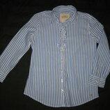 10-12 лет, рубашка блузка в синюю полоску для девочки от Hollister