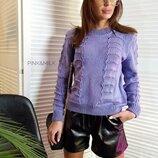женский тонкий вязаный свитер ажурный в разных цветах дц 58