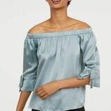 Шелковая блузка H&M PREMIUM QUALITY S шелк бирюзовый