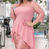 Нарядное платье XL креп дайвинг гипюр бежевое мята розовый