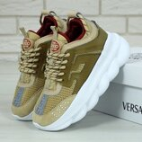 Женские кроссовки Versace Chain Reaction Sneakers Light Brown. Версаче