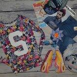 12-14/164 см H&M фирменная кофта кофточка реглан батник свитшот с принтом цветы