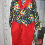 Клоун арлекин шут ростовой костюм фрак пиджак весёлый аниме 48-50-52